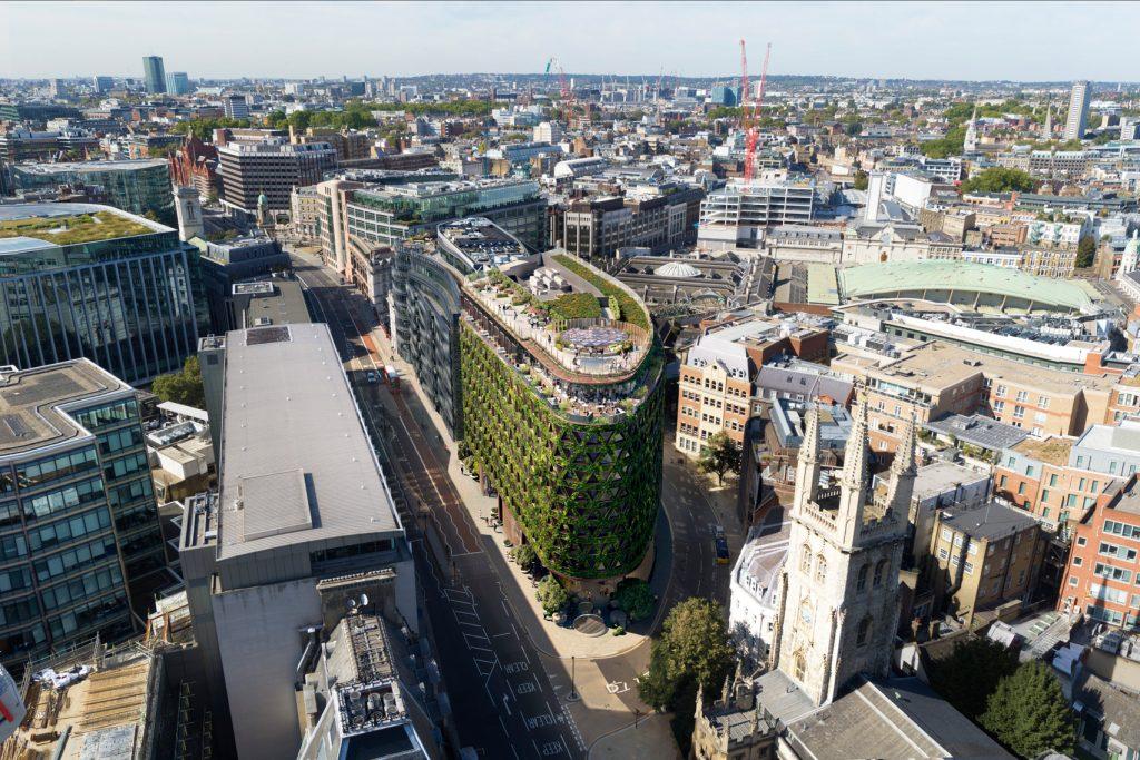 Поглед отгоре на зелената сграда