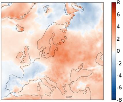 Отклонение на температурите в Европа