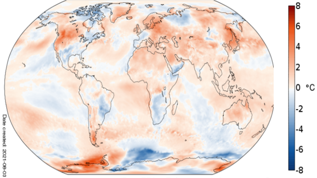 графика на температурите на Земята